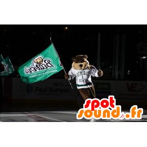 Mascot brown bear, beaver, with a white sports jersey - MASFR21514 - Bear mascot