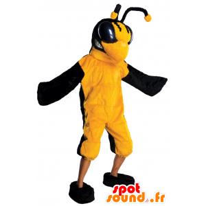Mascot pszczoły, osy, żółty i czarny owad