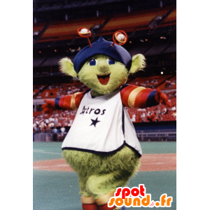 Green alien mascot with antennas and a hat - MASFR21516 - Monsters mascots