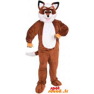 Mascotte de renard orange et blanc, tout poilu
