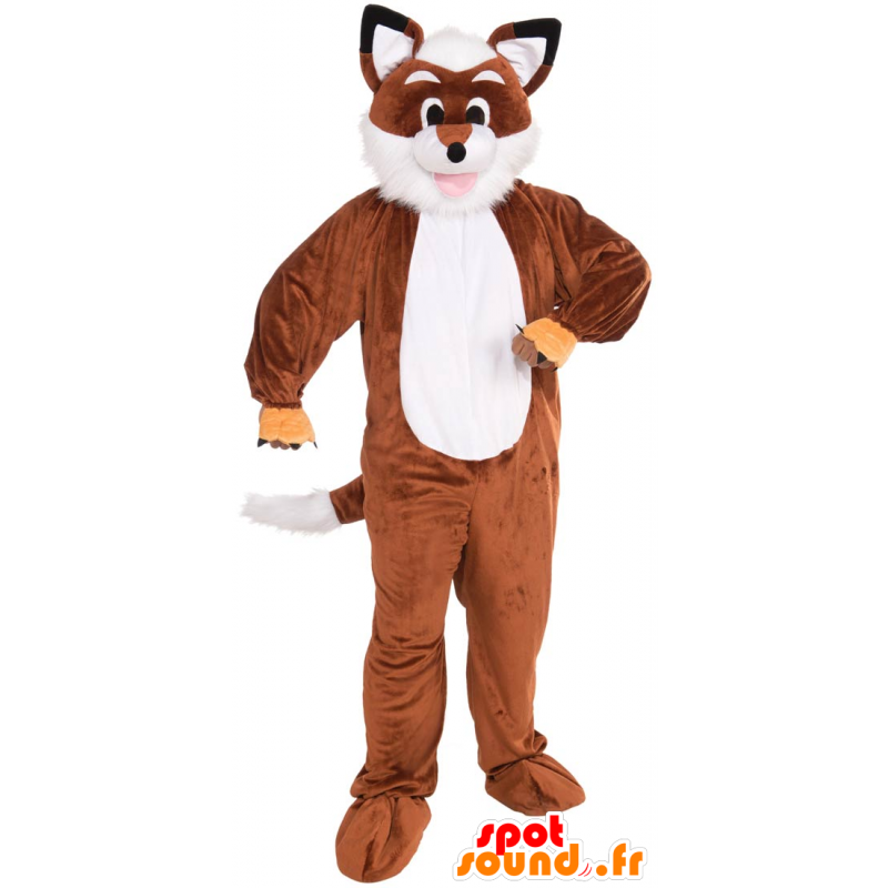 Mascotte de renard orange et blanc, tout poilu - MASFR21519 - Mascottes Renard