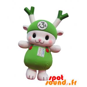 Maskot grøn og hvid purre, kanin, grøn grøntsag - Spotsound