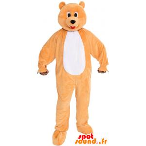 Mascot oranje en wit draagt, de reuze, leuk en kleurrijk - MASFR21521 - Bear Mascot