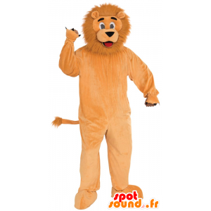 Orange lion mascot with a hairy mane - MASFR21522 - Lion mascots