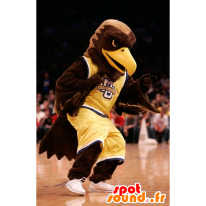 Brązowy orzeł maskotka ubrana w żółtym sportowej - MASFR21523 - ptaki Mascot