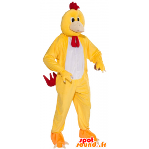 Chicken mascot rooster yellow, white and red