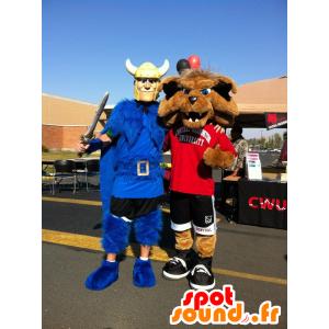 2 animali domestici: un vichingo con un mantello blu, e un lupo sportivo - MASFR21526 - Mascotte lupo