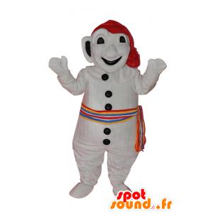 Valkoinen lumiukko maskotti, värikäs huivi ja hattu - MASFR21529 - Mascottes non-classées