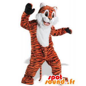 Orange Tiger-Maskottchen, weiß und schwarz, süß und niedlich - MASFR21530 - Tiger Maskottchen