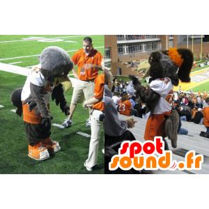 Szary orzeł maskotki pomarańczowy i biały strój sportowy - MASFR21534 - ptaki Mascot