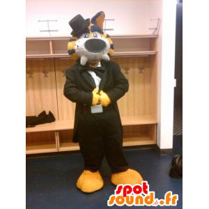 Yellow Tiger-Maskottchen, Schwarz und Weiß, in einem schwarzen Anzug - MASFR21540 - Tiger Maskottchen