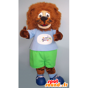 Brown lion mascot, all hairy, green and blue outfit - MASFR21542 - Lion mascots