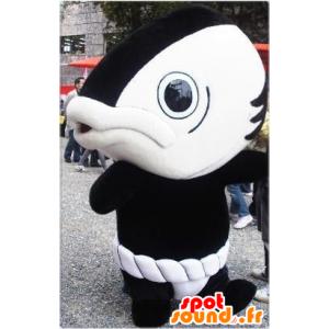 Jättiläinen kala maskotti, musta ja valkoinen, hauska ja omaperäinen