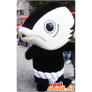 Reusachtige vis mascotte, zwart en wit, grappig en origineel