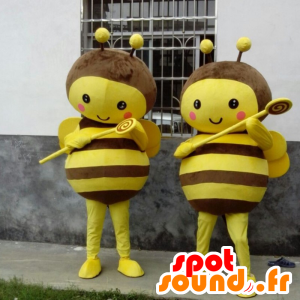 2 yellow and brown bee mascots
