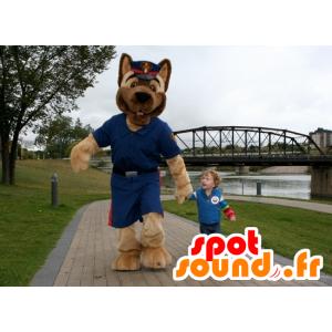 Brown Dog Mascot uniforme de policía - MASFR21548 - Mascotas perro