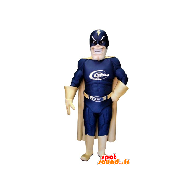 Mascotte de super-héros, avec un costume bleu et doré - MASFR21549 - Mascotte de super-héros