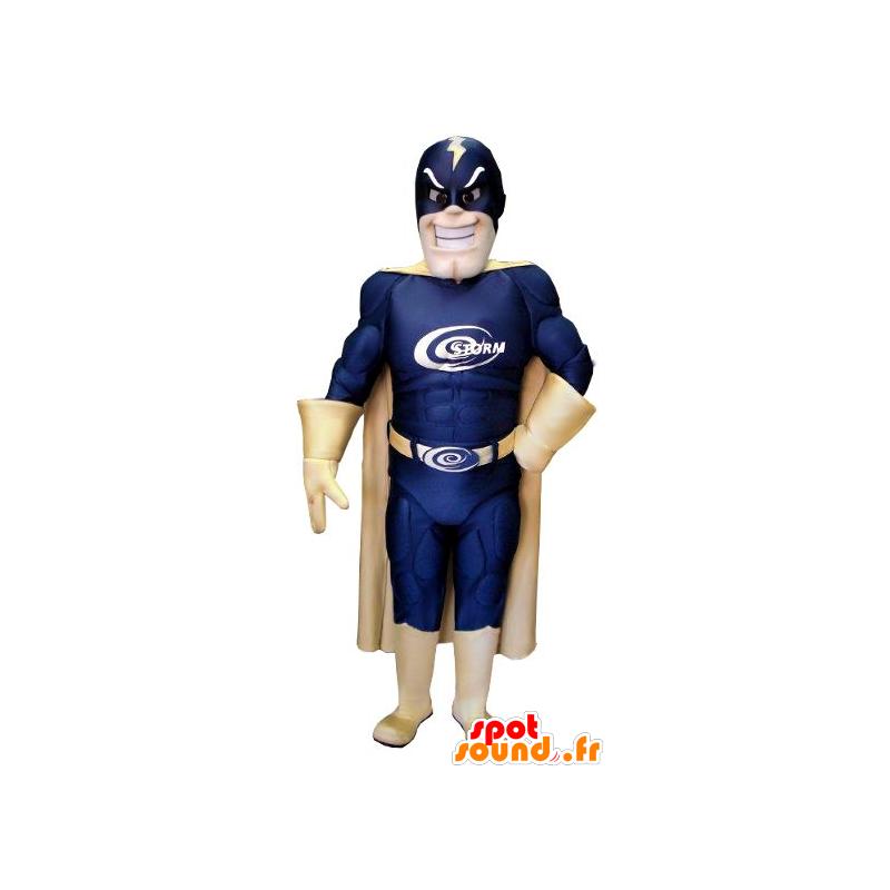 Superhero mascot, a blue suit and gold - MASFR21549 - Superhero mascot