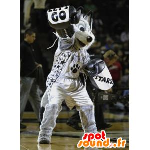 Mascot harmaa susi, mustavalkoinen, urheiluvaatteita - MASFR21552 - Wolf Maskotteja