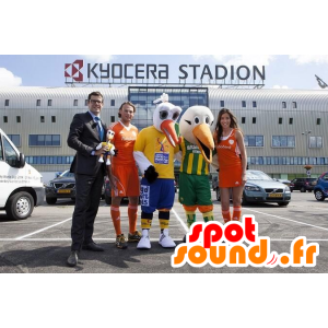 2 bird mascot, stork, white and orange - MASFR21554 - Mascot of birds