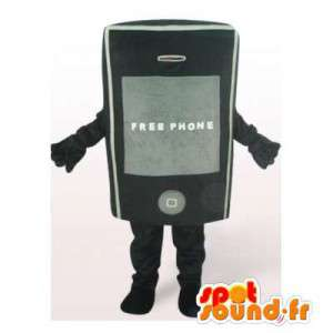 Mascot telefono cellulare nero. Costume cellulare