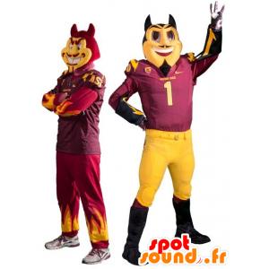2 mascotte diavoli, rosso e nero alla evilly