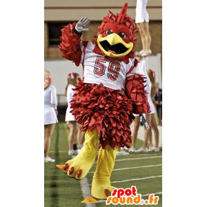 Maskotka brązowy i żółty ptak z białego sportu Jersey - MASFR21567 - ptaki Mascot
