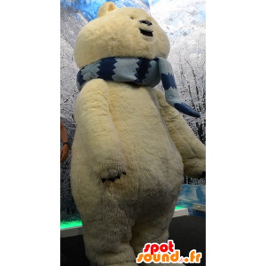 Stor isbjörnmaskot, beige björn med en halsduk - Spotsound