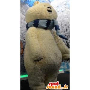 Stor isbjørn maskot, beige bjørn med et skjerf - MASFR21569 - bjørn Mascot