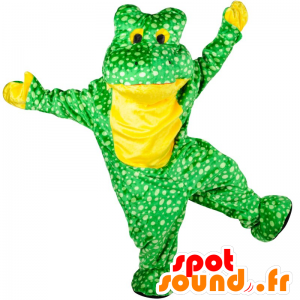 Green and yellow frog mascot, with white dots - MASFR21570 - Mascots frog