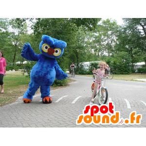 Mascote azul da coruja, amarelo e laranja, gigante - MASFR21573 - aves mascote