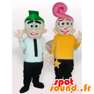 2 mascottes, d'homme et de femme avec des cheveux colorés
