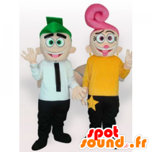 2 mascottes, man en vrouw met geverfde haren