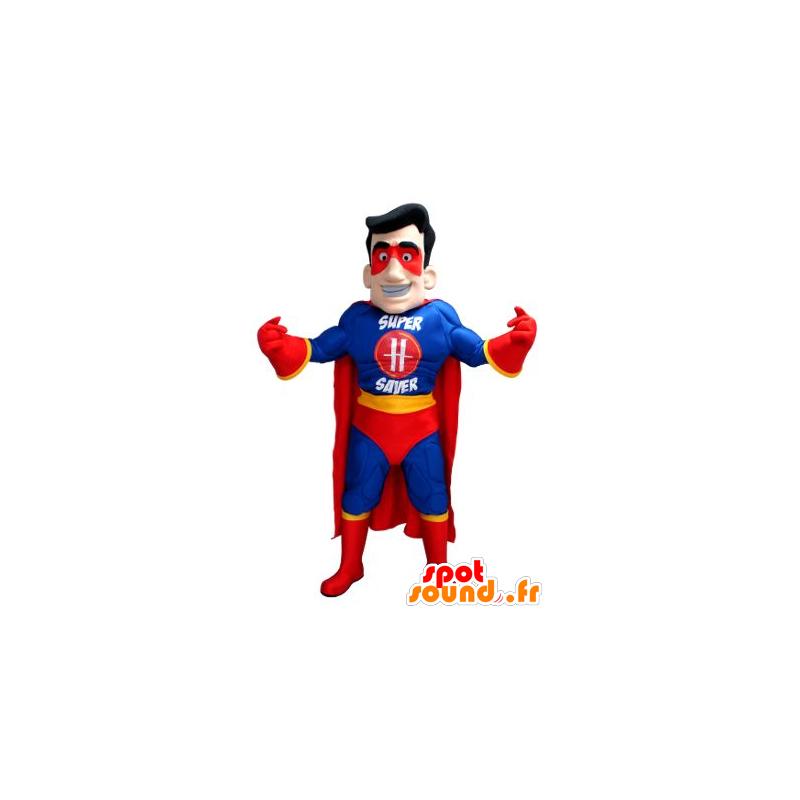 Mascotte de super-héros en tenue bleue, jaune et rouge - MASFR21582 - Mascotte de super-héros