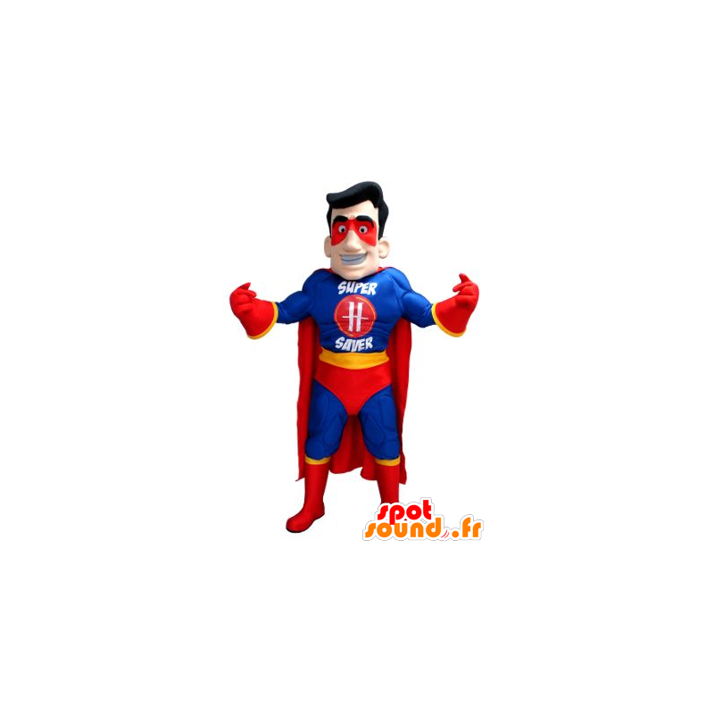 Superheld mascotte in blauwe outfit, geel en rood - MASFR21582 - superheld mascotte