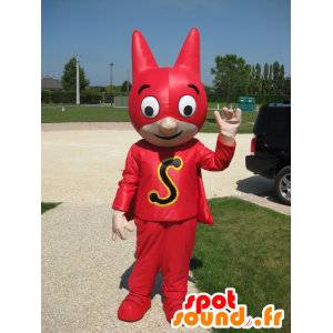 Superhero mascot with a mask and a red dress