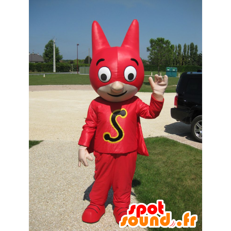 Superhero mascot with a mask and a red dress - MASFR21588 - Superhero mascot