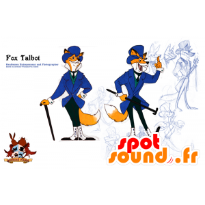 Mascotte de renard orange et blanc, en costume cravate