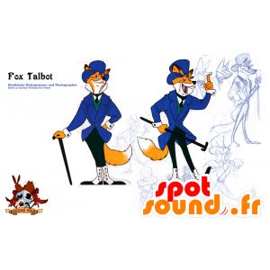 Oranje en witte vos mascotte pak en stropdas