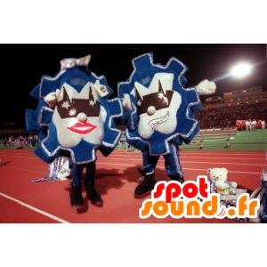 2 Maskottchen Wimpel, blau und silber - MASFR21595 - Maskottchen von Objekten