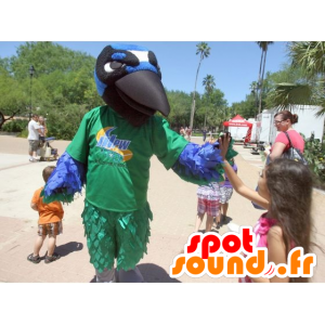 Mascot vihreä lintu, sininen, valkoinen ja musta, korppi - MASFR21599 - maskotti lintuja