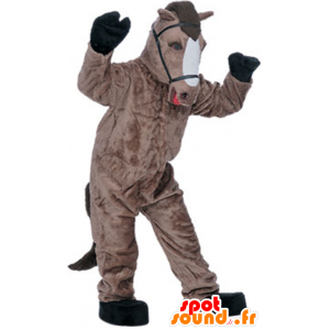 Brown and white horse mascot, realistic - MASFR21602 - Mascots horse