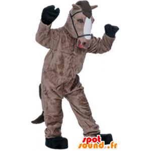 Mascotte de cheval marron et blanc, très réaliste