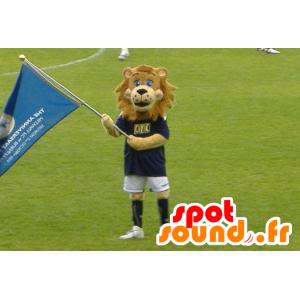 Brown mascotte leone in abbigliamento sportivo - MASFR21603 - Mascotte Leone