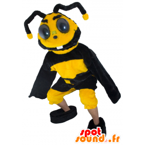 Bee μασκότ, κίτρινο και μαύρο σφήκα