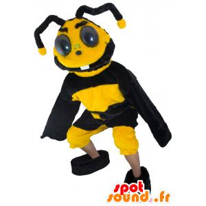 Bee maskotti, keltainen ja musta ampiainen