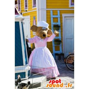 Hond mascotte, rendieren bruine jurk met een schort - MASFR21610 - Dog Mascottes