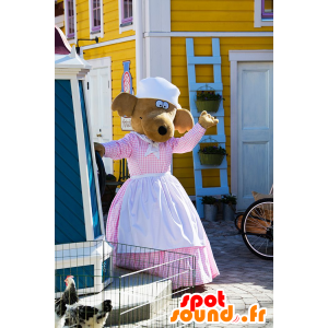 Maskotka pies, renifer brązowa sukienka z fartuchem - MASFR21610 - dog Maskotki