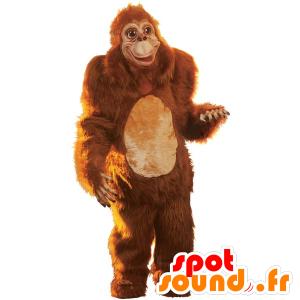 Mascotte de singe marron, de gorille tout poilu