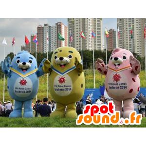 3 mascottes d'otaries colorées